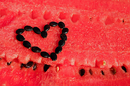 black watermelon seed forming heart
