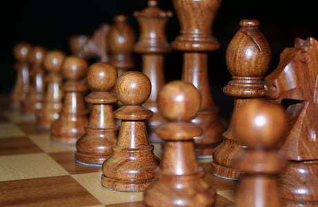 brown wooden chess set
