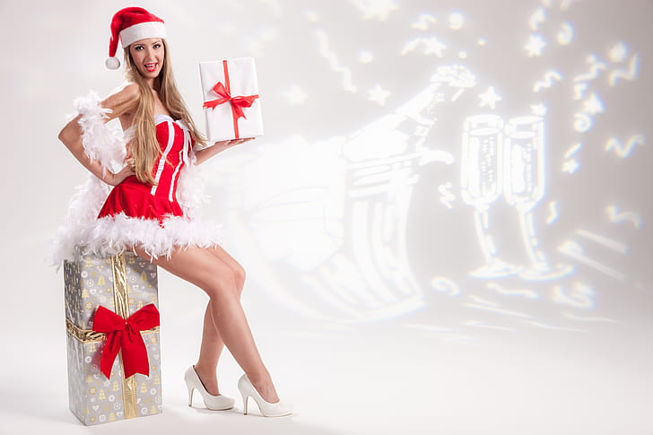 woman wearing Christmas-themed costume