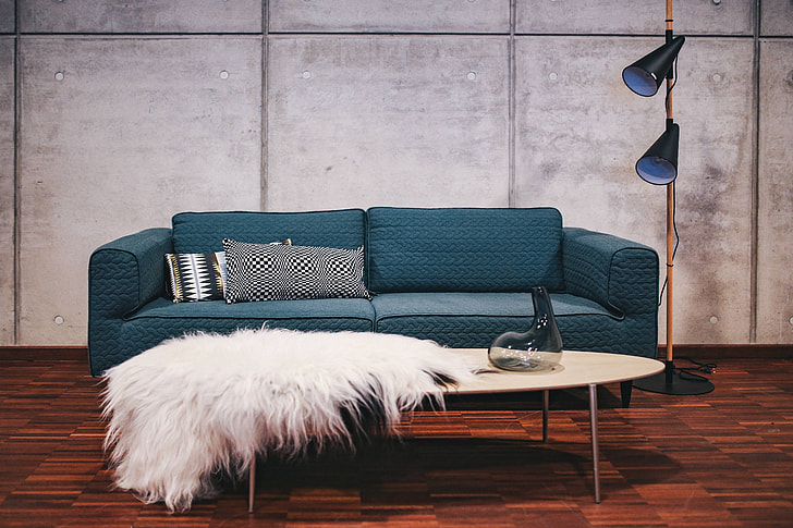 Groovy Royalty Free Photo Blue Sofa With Pillows In A Designer Theyellowbook Wood Chair Design Ideas Theyellowbookinfo
