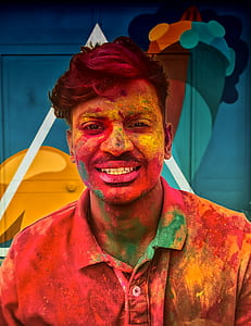 holi, person, portrait, moustache, face