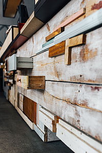 Wooden installation with shelves