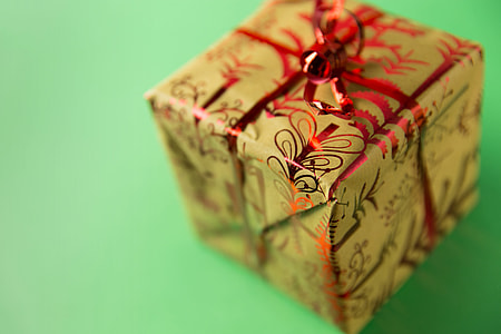 Closeup shot with shallow depth of field of a Xmas present. Image captured with a Canon 6D