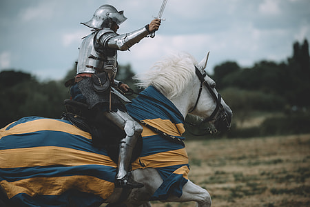 knight Shining armor riding in white horse