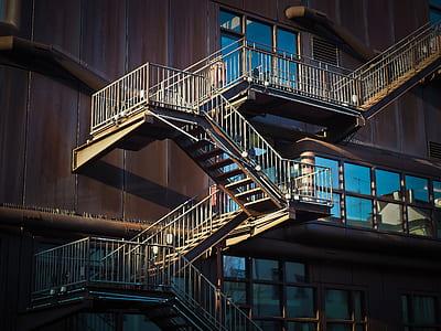 gray metal emergency ladders