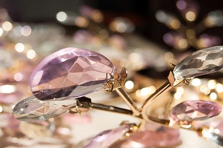 macro shot of pink gemstone
