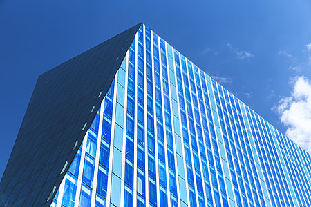 Angled building on a sunny blue day in the city