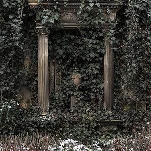 pillar with plant