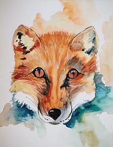 brown fox painting