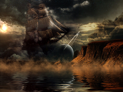 sail ship photograph in front of fallen planet above body of water