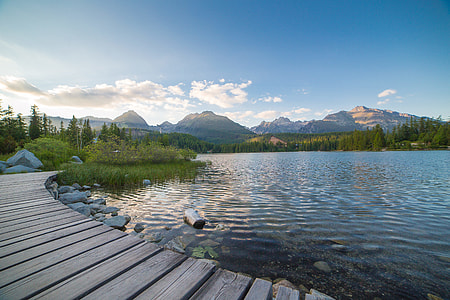 Evening Lake Side in High Tatras Mountains