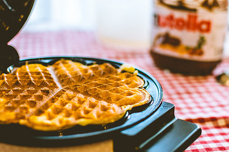 selective photography of waffle in waffle