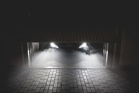 Sportcar Waiting in Garage at Night