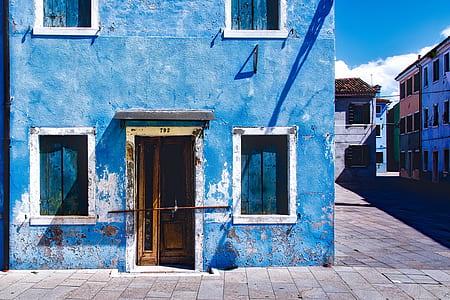 blue concrete building