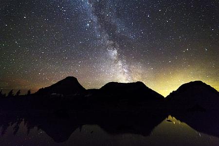 silhouette mountain photo during night time