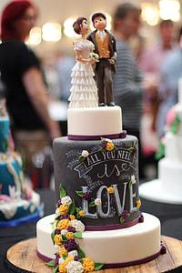 photo of wedding cake on table