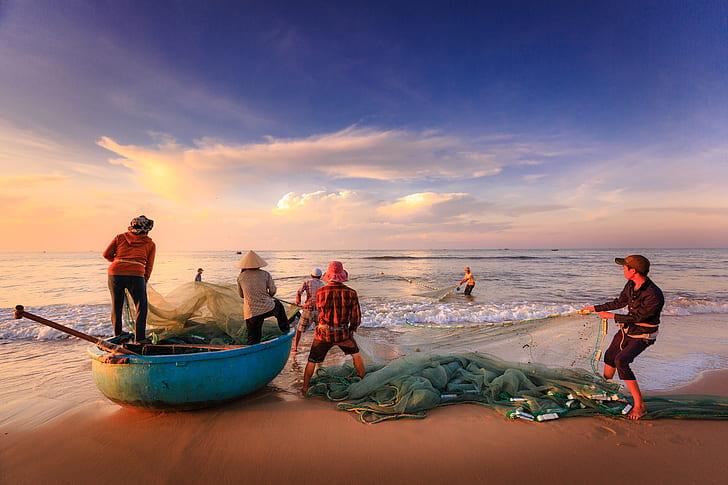 fisherman on seashore
