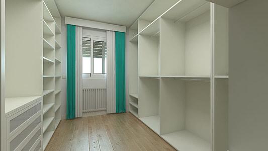 white wooden shelf near white wooden closed door