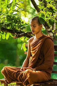 man wearing brown monk suit while sitting on bench near tree