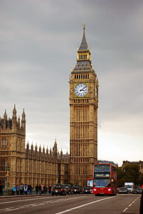 Big Ben Tower Near City Road With Bus and Cars Traveling Under Gray White Clouds