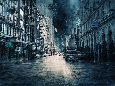 photo of city during rainy day painting