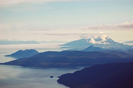 Landscape shot of coastal mountains in Juneau, Alaska