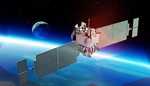 gray satellite on outer space