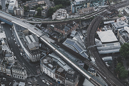 aerial photography of city highway at daytime