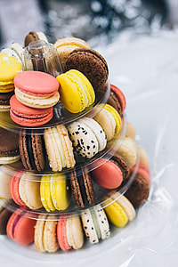 Colourful sweet macarons arranged in a tower
