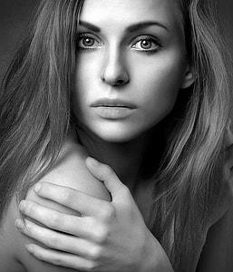woman portrait grayscale photo