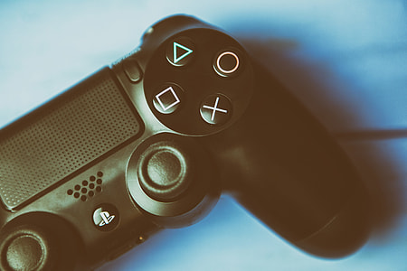Close-up shot of the game controller for the Sony PS4 games console