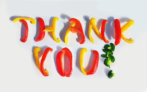 Thank You vegetable sliced decor