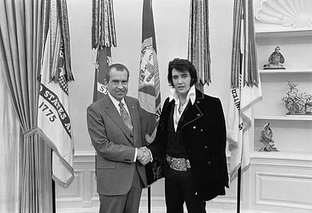 Elvis Presley grayscale photography