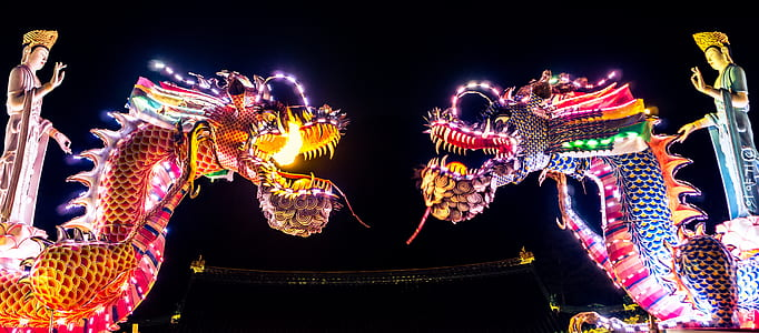 two dragons during night times