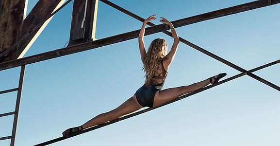 woman on balancing rope