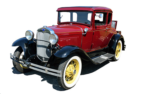 classic red Ford Model T car