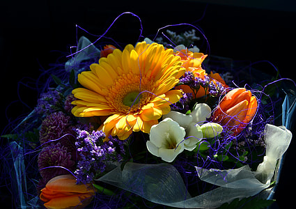 bouquet of flowers with black background