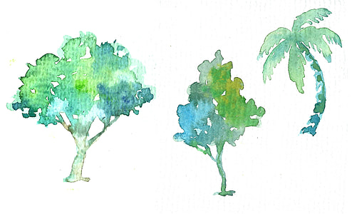 three green sketches of trees and palm tree