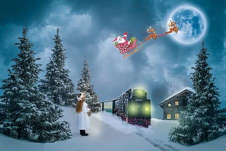 girl in white dress watching Santa Claus during daytime