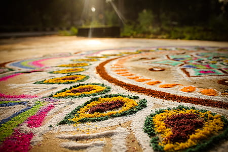 colors, floor, festival, indian, hindu, colorful