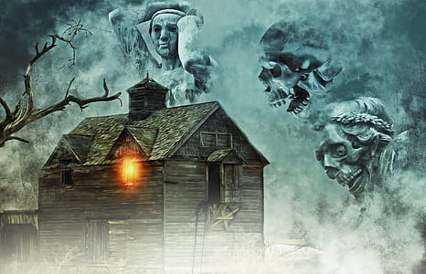 brown wooden house with three ghost photo