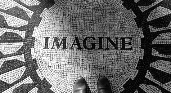 high-angle photography of Imagine floor