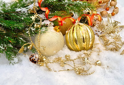 Christmas baubles on snow