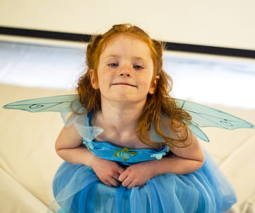 photography of girl with blue fairy costume