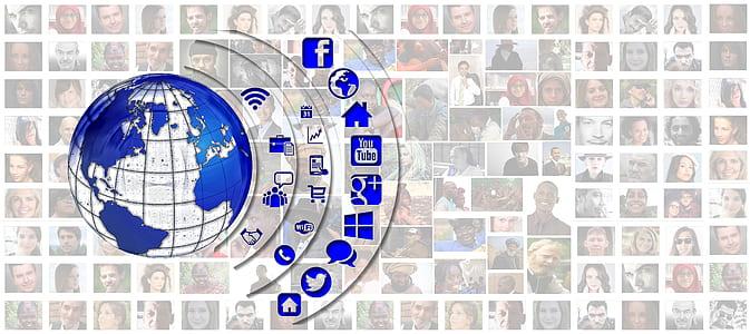 Earth illustration with social media logos