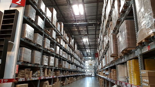 warehouse interior with boxes
