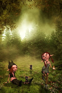 photo of two dwarfs on forest