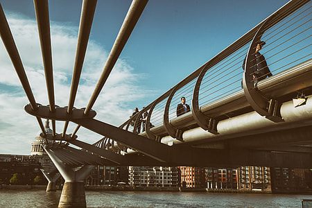 Wide angle shot of the Millennium Bridge on the Southbank in London. The bridge opened in the year 2000 and is between Southwark Bridge and Blackfriars Railway Bridge