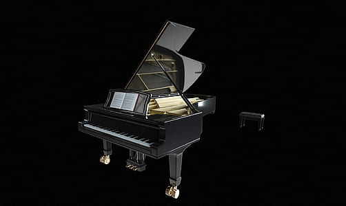 black wooden grand piano