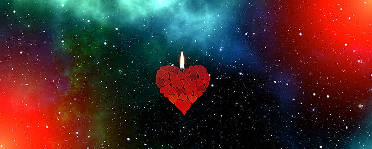 red heart candle illustration